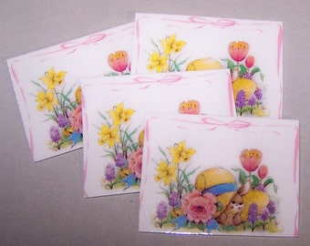 Dollhouse, Springtime, Summertime, Colorful, Pastels, Bunny, Easter Decor, Miniature Decor, Placemats, Daffodils, Tulip, Strawhat, Dollhouse