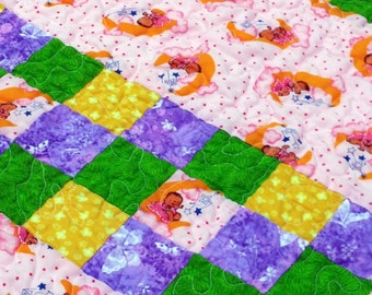 Baby Quilt Pink and Lavender, Pink Baby Girl Quilt, Lavender Green Baby Quilt, Crib Quilted Blanket, Infant Quilt, Little Girl Quilt, Quilt