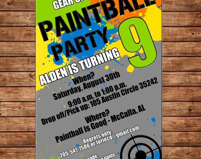 Boy Paintball Paint Ball Target Birthday Party Invitation - DIGITAL FILE
