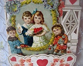 Antique Valentine card, fold out valentine, honeycomb valentine, 1900's valentine, romantic valentine, ornate valentine, fold down valentine