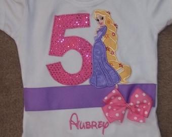 Long Haired Princess Ribbon Birthday Appliqued Shirt