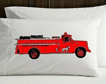 Two (2) vintage red Fire engine truck NEW pillowcase FD firetruck man the pillow cover case art gift great boys size of bedroom decor