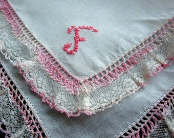 "Monogram  ""F"" on White Linen Hanky with Pink embroidery and Pink and White Lace Edging"