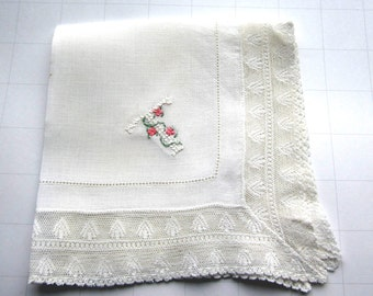 "Vintage White Linen Hanky/Handkerchief  Embroidered  ""T"" in White  Floss. Pink flowers"