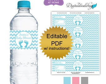 DIY editable printable water bottle labels PDF (No.46) chevron boy or girl baby shower favors Digital File