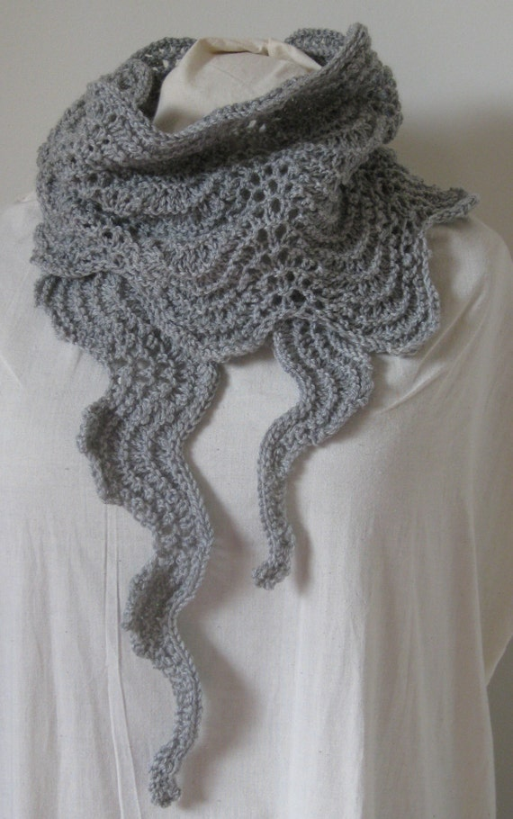 Ripple Stitch Knitting Pattern Scarf : Old Shale Stitch Scarf, Knitted Scarf , Ripple Stitch Scarf, Lace Scarf, Knit...