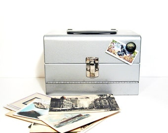 Vintage Metal Box Carry Case  Storage Industrial Movie Reel Decor