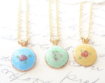Vintage Limoges Flower Necklace - Choose Your Color - Enamel Necklace - Pink Rose - Guilloche Enamel Charm Necklace