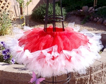 SALE! Petti Tutu, Red and White Tutu, Petti Tutu, Custom Petti Tutu, Handmade, Baby, Toddler Tutus, Girls Petti Tutus, Posh Birthday Tutu