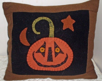 Oley Valley Primitives Wool Applique JACK o LANTERN Penny Rug Pillow Digital Download