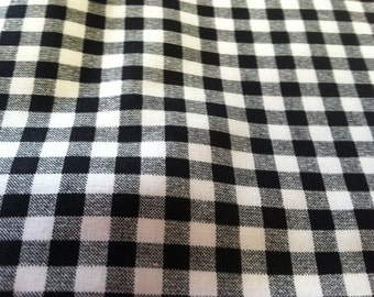 Gingham print fabric black