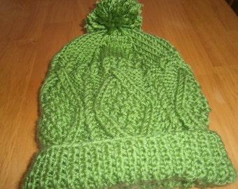 Irish Aran Cable Knit Hat Child Boy or Girl Green Guacamole Size 4-6T