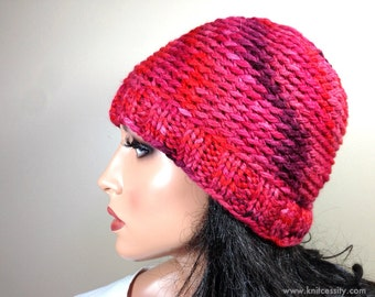 Womens Beanie Hat, Custom Made Hand Dyed Reds Pink Purple Baby Alpaca Crochet Knit Hat, Reversible // BEDFORD // Shown in Color H17