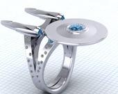 Sterling Silver Star Trek Enterprise Ring, Space Ring, Star Trek Enterprise Ring, Sterling Silver Jewelry Custom Topaz Ring, Boldly Going...