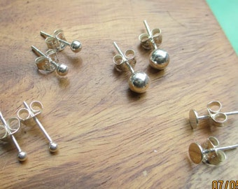 Sterling Silver Ball Tip and Flat posts (one pair)