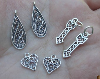 Sterling Silver Filigree Heart,Teardrop, or Arrow charms(you choose which one, and quantity)