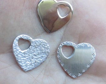 Sterling Silver Heart with Heart cutout(one)Solid Heart, Hammered, or Design edge