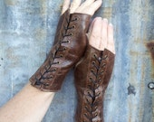 Distressed Chocolate Brown Leather Steampunk Fingerless Gloves