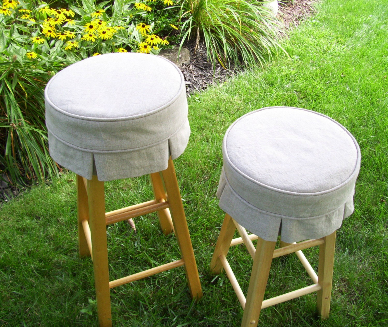 Linen Bar Stool Cover With Box Pleats And Cushion Barstool