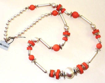 Vintage 70s Silver and Orange Coro Necklace DEADSTOCK