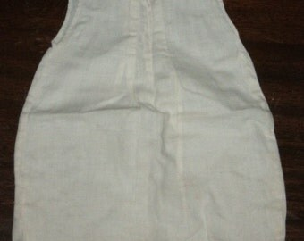 1930s Antique Baby Slip, Handmade, White Cotton with Front and Back Tucks