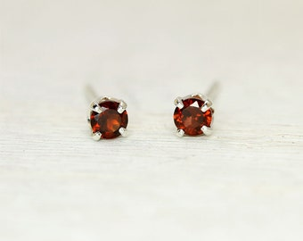 Tiny Red Garnet Earrings with Sterling Silver Posts, second hole garnet stud earrings