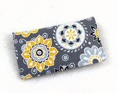 Checkbook Cover for Duplicate Checks with Pen Holder in Gray and Yellow Cotton Fabric