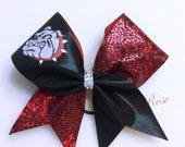 Bulldogs Bow~ Sports bow, Cheer Bow, Softball bow
