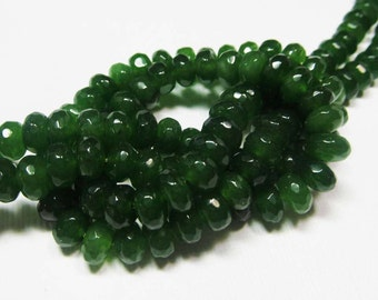 LOOSE Gemstone Beads - Jade Beads - Faceted 4x6mm Rondelles - Jungle Green (10 beads) - gem1024