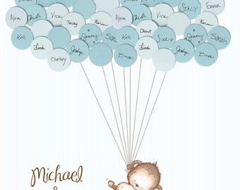Twins Baby Shower Guestbook-Monkey with Stripes