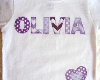 Girl Personalized Shirt -Toddler T Shirt  Chevron and Polka Dots on a White Shirt -Personalized Shirts