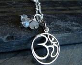 Yoga Jewelry Om Moonstone Necklace - Purity-Awakens Spirit - Harmony, Yoga Jewelry, Sanskrit OM, Moonstone Gemstones, Ohm Charm necklace Aum