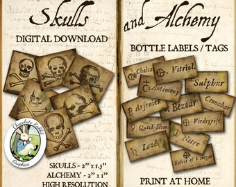 Alchemy Potion Label Halloween Apothecary Labels Halloween Printable Digital Download Witch Bottle Tags Clip Art Skull Images Vintage Style
