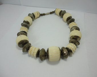 Vintage Bone & Metal Beads Mix Choker Necklace 70s