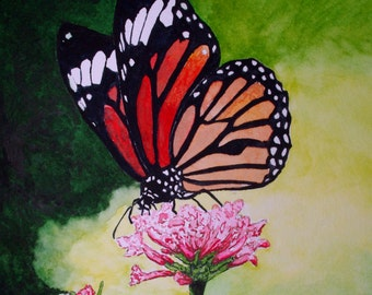 Butterfly on Flowers Print from the Original Watercolor by Michael Joe Moore