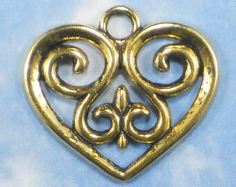 6 Gold Heart Charms Fleur de Lis Pendants NOLA Golden Wedding Invitations Paper Arts & More  (P1508)