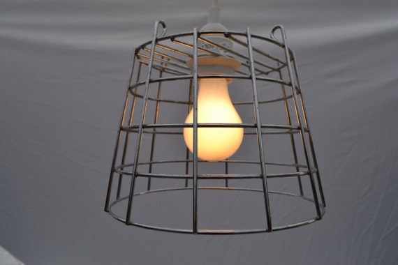 Items similar to wire basket pendant light free shipping on etsy - Wire basket chandelier ...