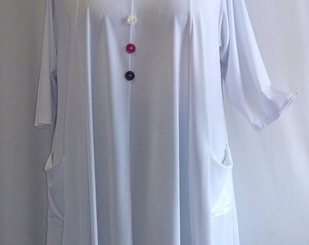 Coco and Juan Lagenlook Plus Size Top White Traveler Knit Trapeze Tunic Size 1 (fits 1X/2X)  Bust 50 inches
