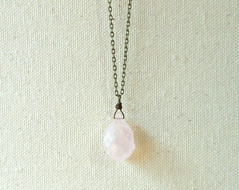 Rose quartz necklace rose quartz pendat on brass chain light pink crystal necklace heart chakra