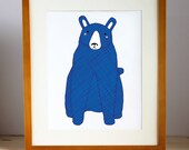 Blue Bear Print, Bear Nursery Art, Bear Art, Kid's Bear Art, Kid Decor, Boy Print, Nursery Decor, Bear Print, Bear Decor, Bear Wall Art