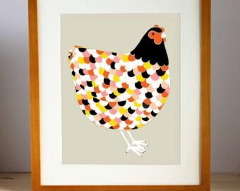 Barnyard Chicken Art Print, Chicken Illustration, Farm Animal Art Print, Home Decor, Chicken Print, Farm Art, Gift For Her, Hen Art Print