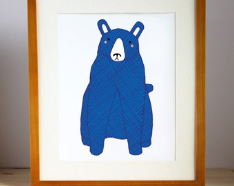 Blue Bear Print Nursery Art, Children Decor