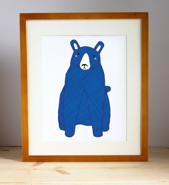 Blue Bear Print, Bear Nursery Art, Bear Art, Kid's Bear Art, Kid Decor, Boy Bear Print, Nursery Decor, Bear Print, Bear Decor, Bear Wall Art