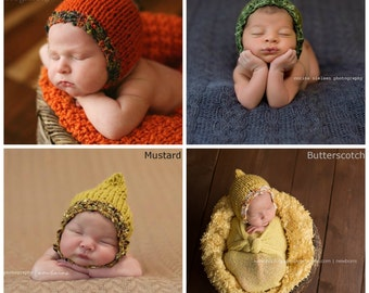 Pixie Newborn Boy Spring Photo Prop Hand Knit Organic Texture Baby Shower Gift Coming Home Outfit Knitted READY Ship Going Bonnet Hat Fall