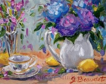 Lemons and Purple Flowers Giclee