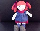 Stuffed toy Christmas gift Crochet Doll Hand Knit dress girl gift Birthday baby shower gift Nursery Purple Fuchsia Amigurumi Doll READY