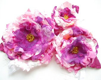 pink white purple peony, bridal hair flowers, brooch, comb, bridal hair clip, corsage, weddings accessories, bridesmaids, flowers for sash