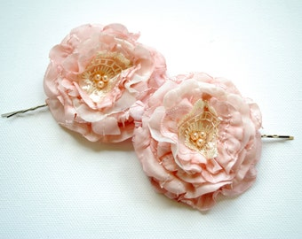 pale pink champagne bridal romantic roses, shabby chic, weddings hair accessory, bridal bobby pins, bridesmaids headpieces, flower girls