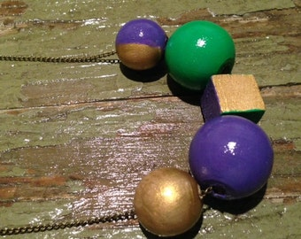 Mardi Gras hand painted wooden ball necklace