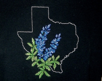 Texas T-Shirt Cross Stitch Texas Bluebonnets T-Shirt Black T-Shirt